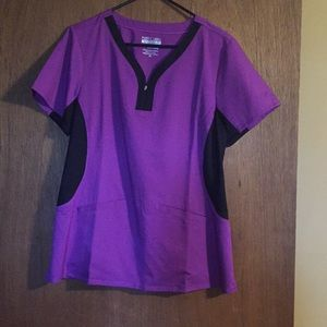 Purple label yoga by healing hands scrub top